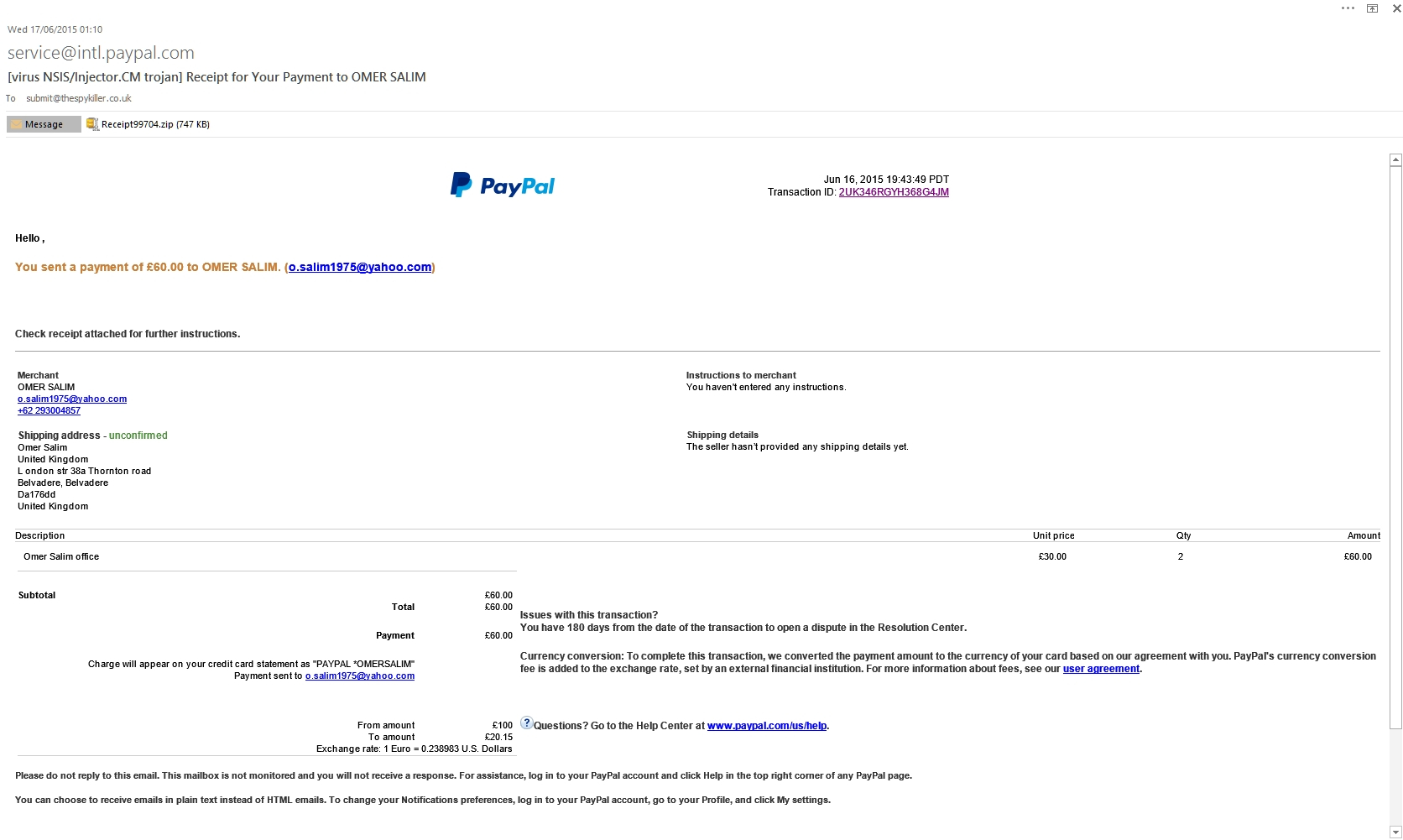 Paypal Receipt For Your Payment To Omer Salim – Fake Pdf Malware With Paypal Invoice Template