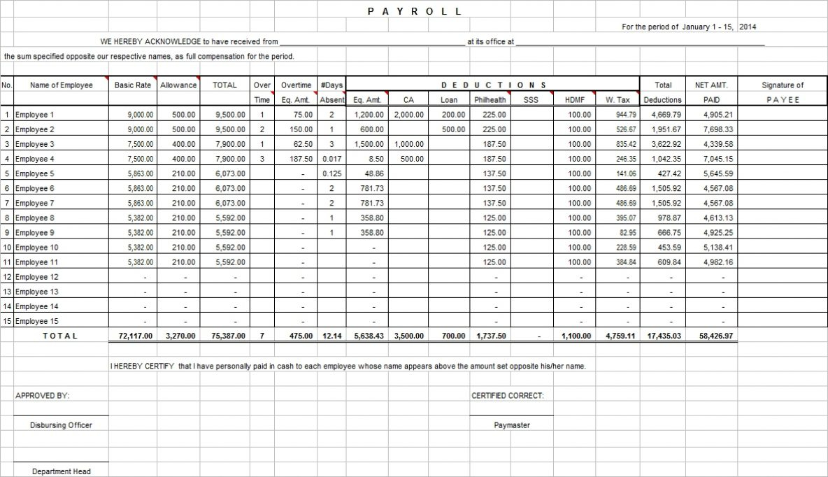 Payroll Excel Template Bi Weekly And How Set Up An Spreadsheet For In Excel Spreadsheet For Payroll