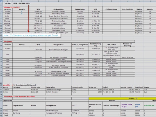 Payroll Management Sheet 1 | Sumhr Employee Attendance, Leaves With Hr Spreadsheets