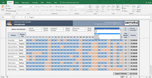 Payroll Template   Excel Timesheet Free Download And Employee Time Tracking Spreadsheet Template