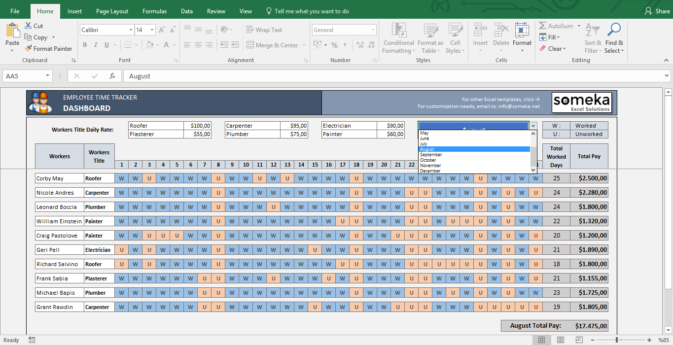 Payroll Template   Excel Timesheet Free Download For Employee Time Tracking Template