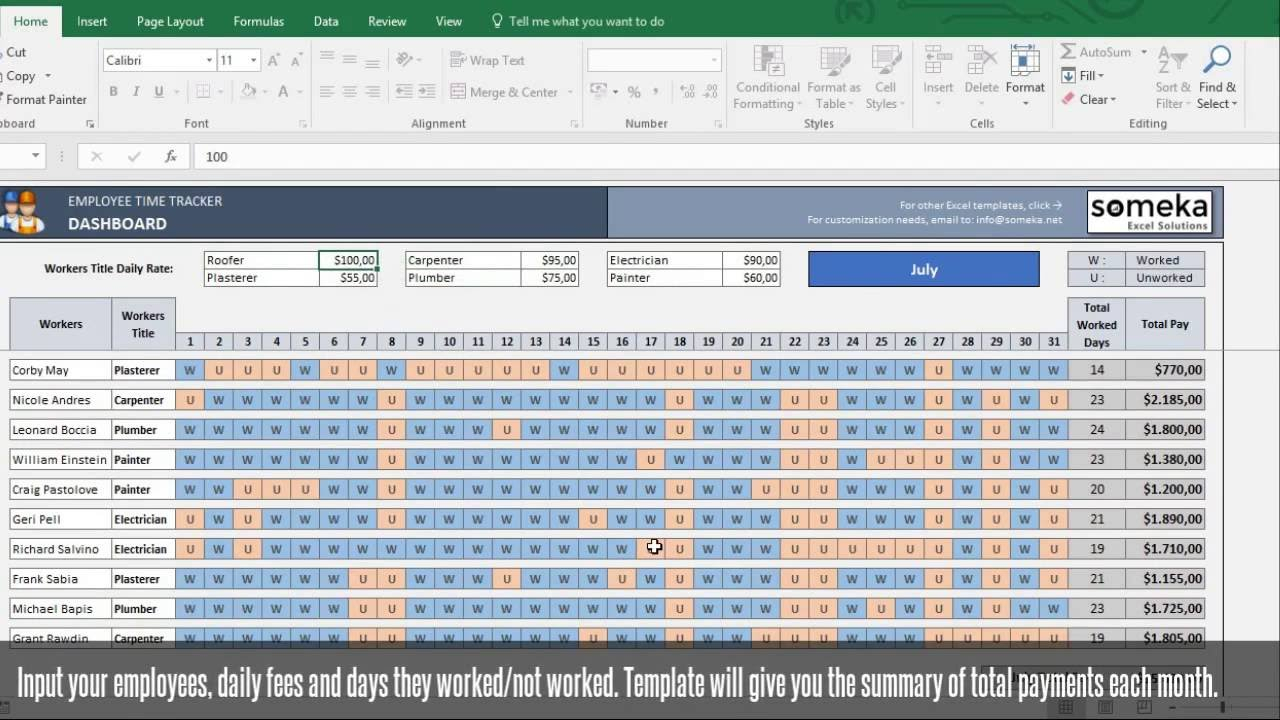 Payroll Template   Excel Timesheet Free Download For Time Tracking Spreadsheet