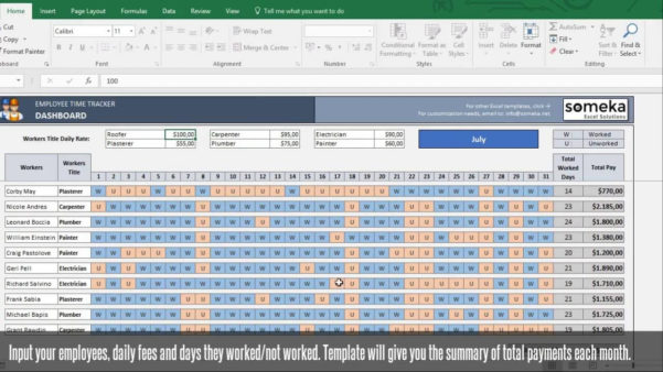 Payroll Template   Excel Timesheet Free Download In Employee Time Tracking Excel Template