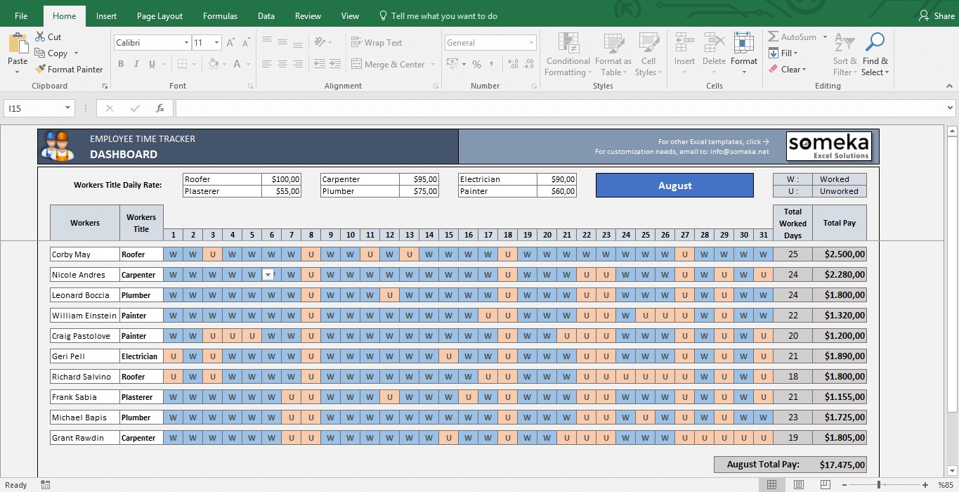 Payroll Template   Excel Timesheet Free Download Intended For Excel Project Time Tracking Template
