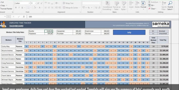Payroll Template   Excel Timesheet Free Download With Employee Time Tracking In Excel