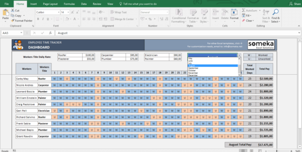 Payroll Template   Excel Timesheet Free Download With Time Tracking Spreadsheet