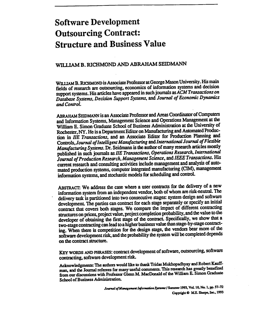 Pdf) Software Development Outsourcing Contract: Structure And Throughout Business Contract Software