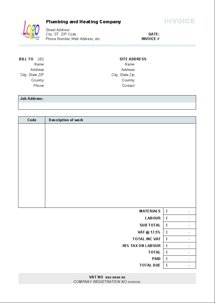Plumbing And Heating Invoice Form   Uniform Invoice Software To Job Invoice Template