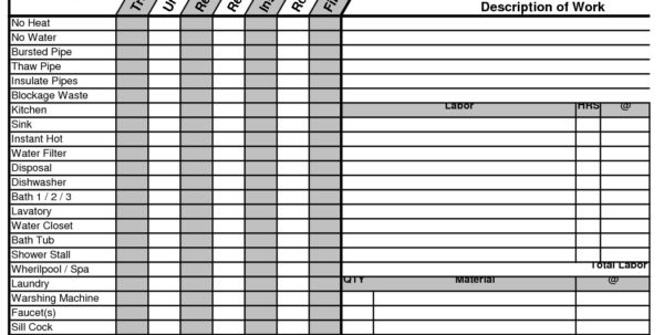 Plumbing Estimate Construction Worksheet | Estimating Plumbing For In Electrical Estimating Spreadsheet