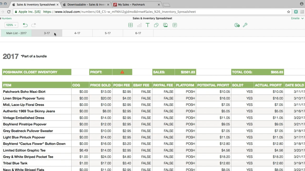 Poshmark/ebay Sales & Inventory Spreadsheet Tutorial On Vimeo Throughout Inventory Spreadsheets