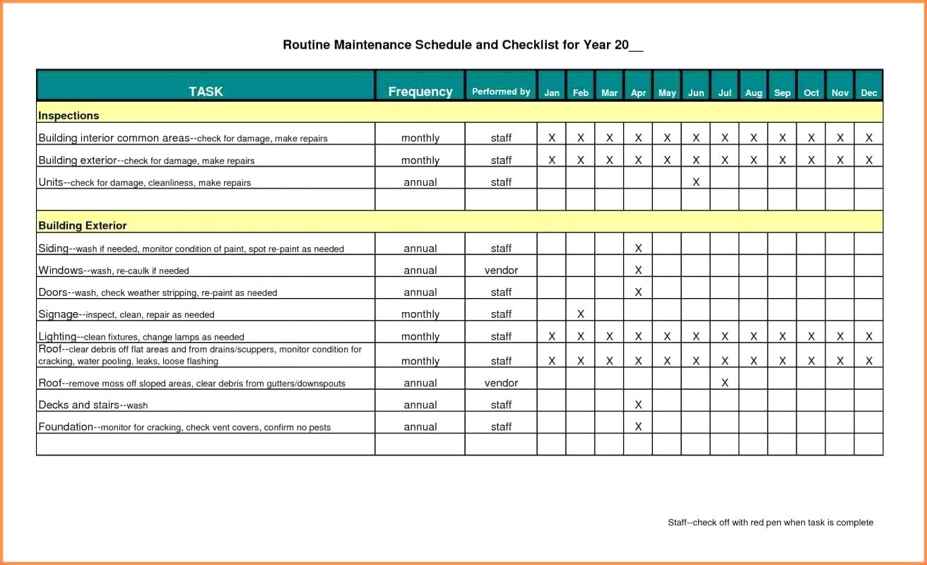 Preventive Maintenance Spreadsheet Template Inside Preventive Maintenance Spreadsheet