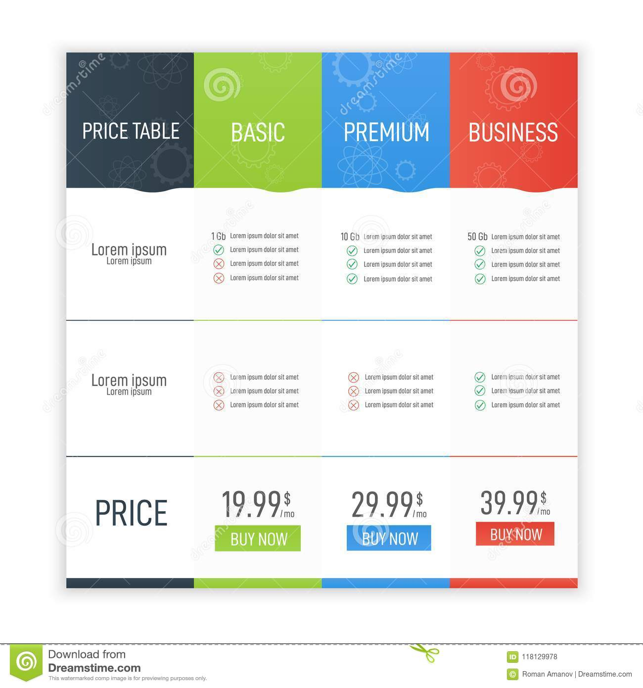 Price Table For Websites And Applications. Business Infographic To Business Applications Template