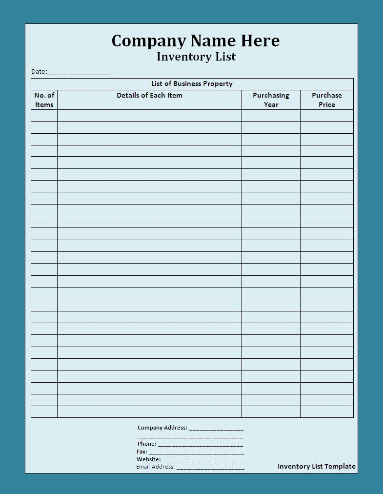 Printable And Blank Inventory List Control Spreadsheet Template For Within Basic Inventory Spreadsheet Template