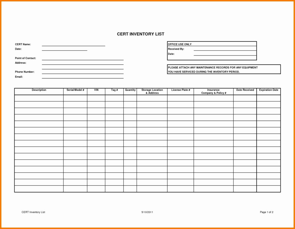 Printable Blank Inventory List Insurance Purposes   Restaurant In Printable Inventory List Template