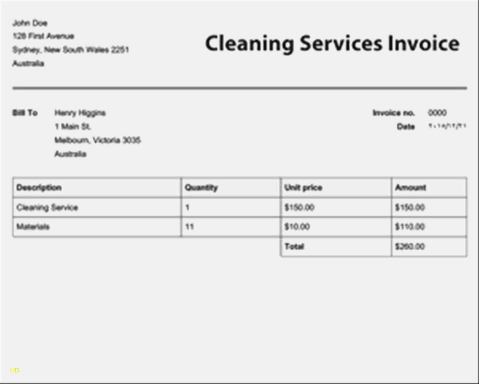 Printable Cleaning Service Invoice   Restaurant Interior Design To House Cleaning Service Invoice