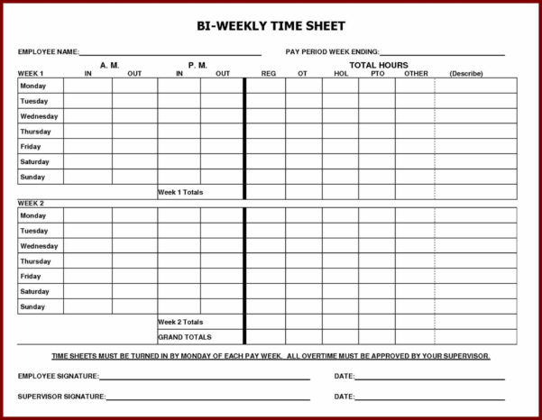 Printable Employee Time Sheet   Durun.ugrasgrup Throughout Biweekly Payroll Timesheet Template