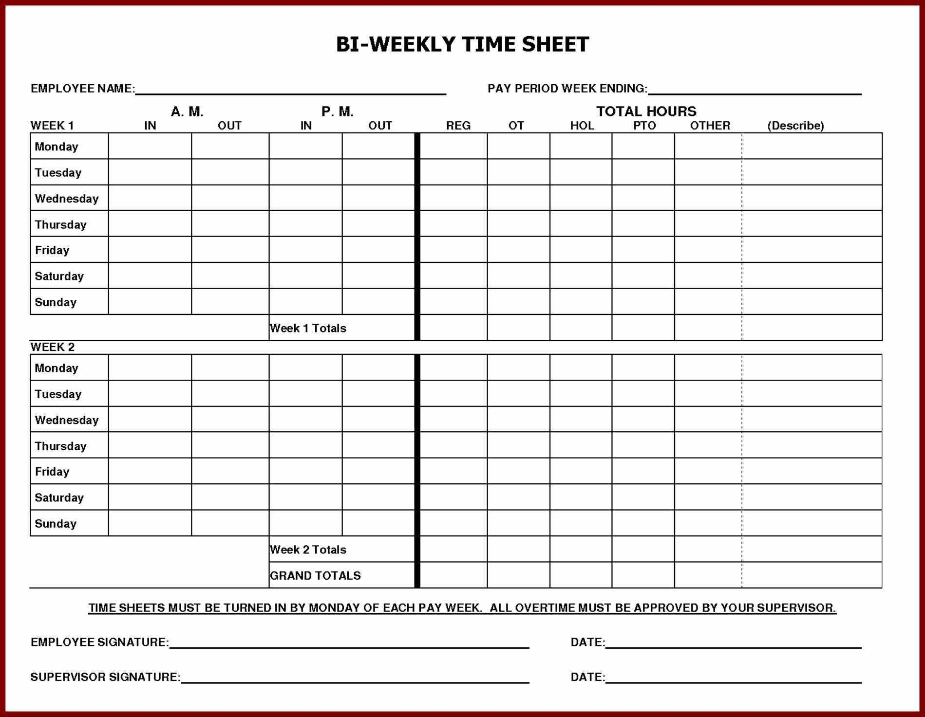 Printable Employee Time Sheet   Durun.ugrasgrup Within Payroll Timesheet Template