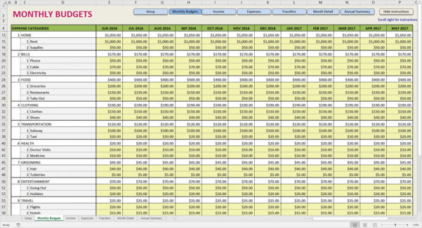 Printable Monthly Budget Template Expense Spreadsheet Free Business Intended For Business Expense Template Excel Free