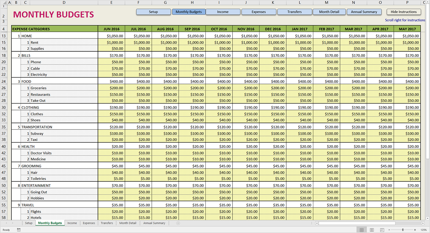 Printable Monthly Budget Template Expense Spreadsheet Free Business To Free Expense Spreadsheet