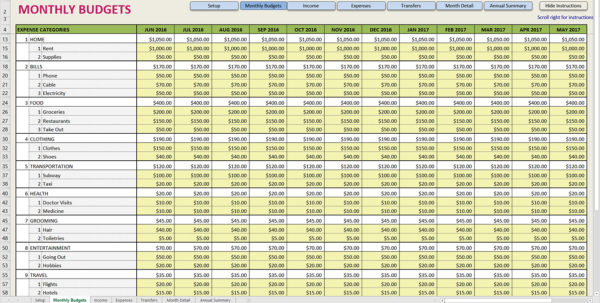 Printable Monthly Budget Template Expense Spreadsheet Free Business To Free Financial Spreadsheet
