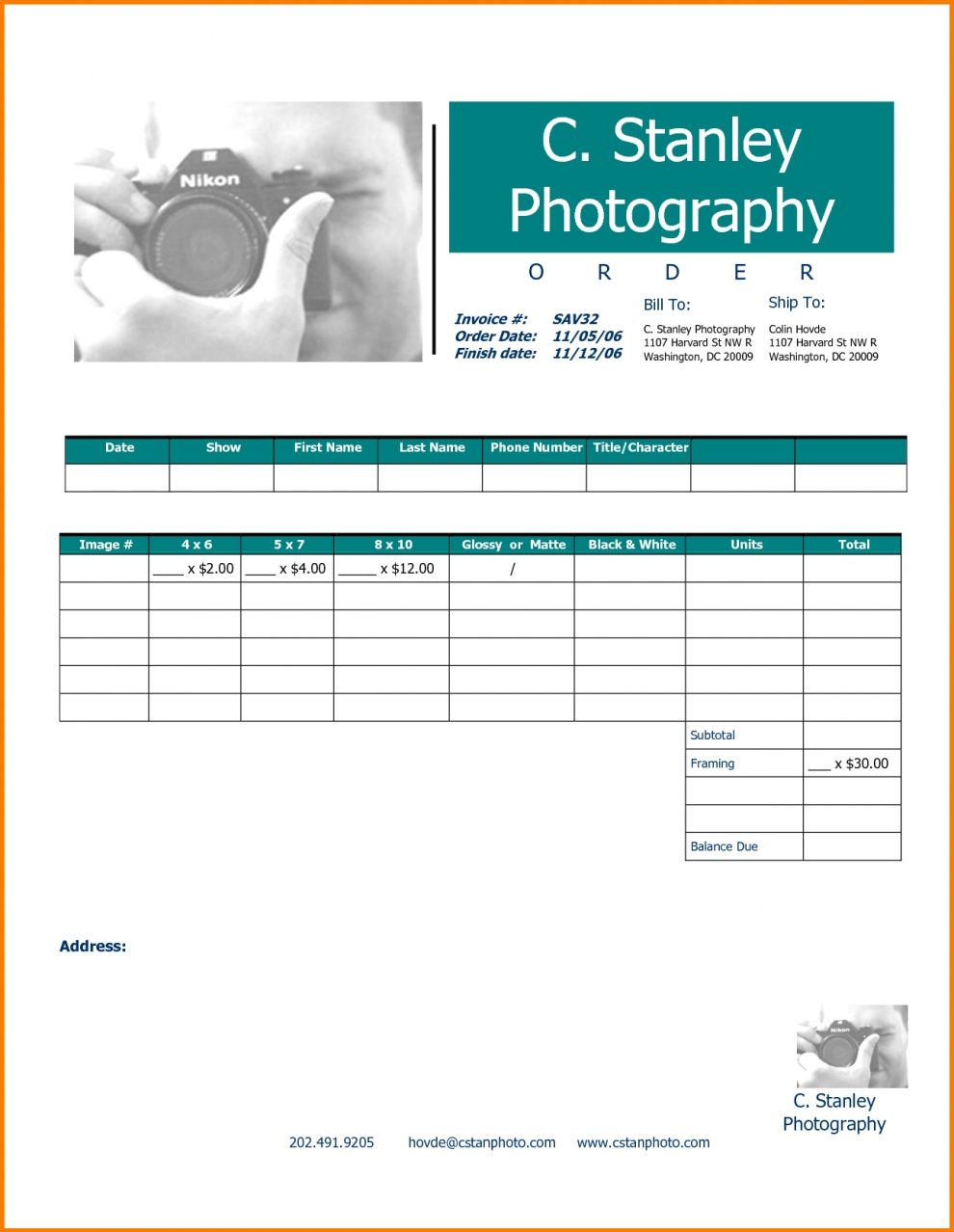 Professional Invoice Templates Photography Invoice Template Excel Within Photography Invoice Template