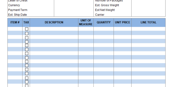 Proforma Invoice Format In Excel To Invoice Excel Template