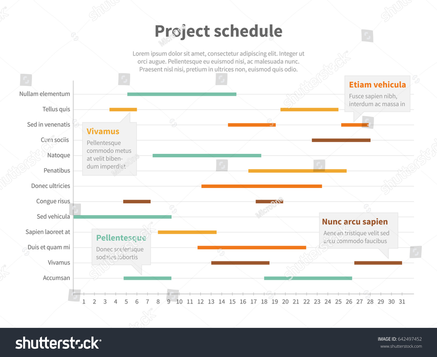 Project Plan Schedule Chart Timeline Gantt Stock Illustration Inside Project Timeline Schedule