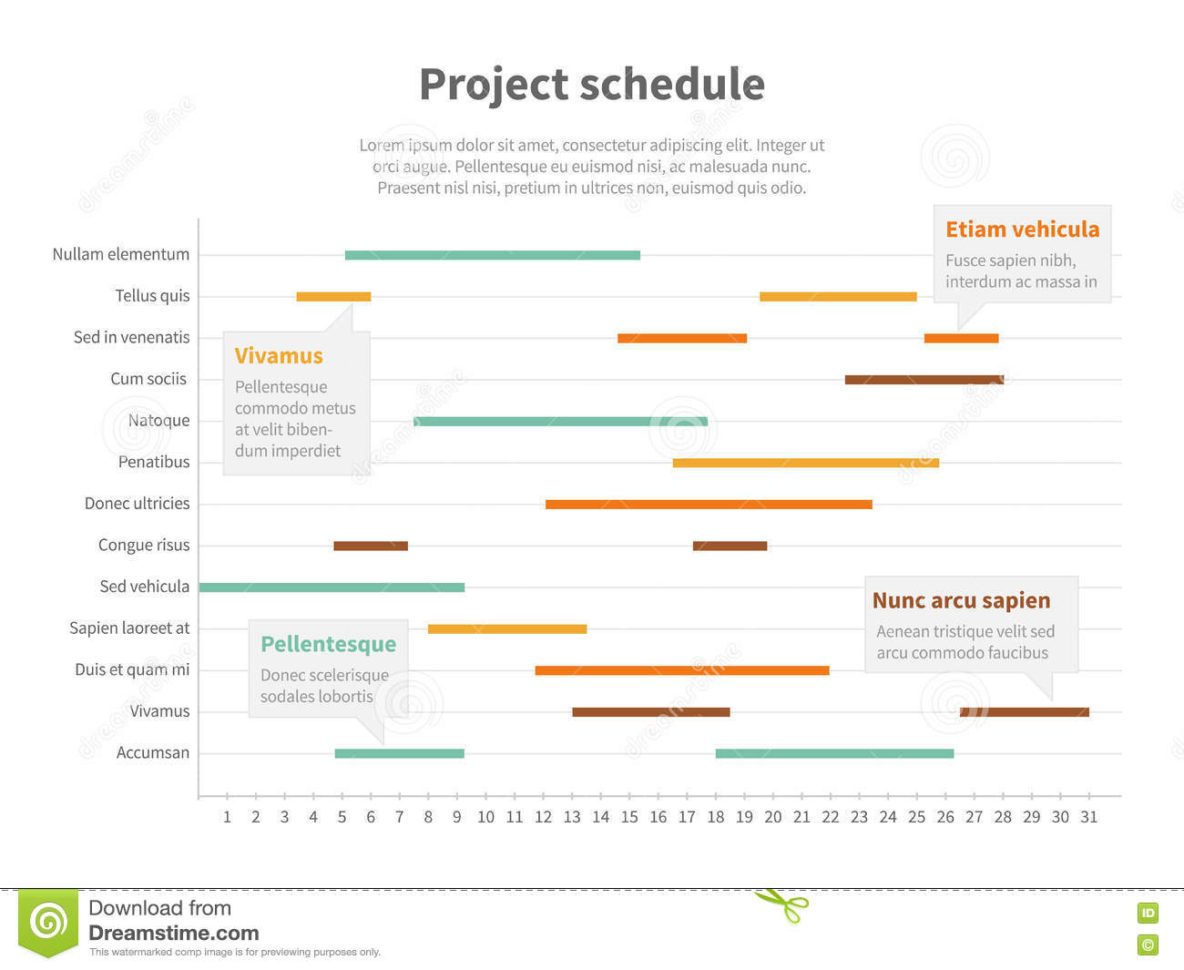 Project Plan Schedule Chart With Timeline, Gantt Progress Vector For Project Timeline Schedule