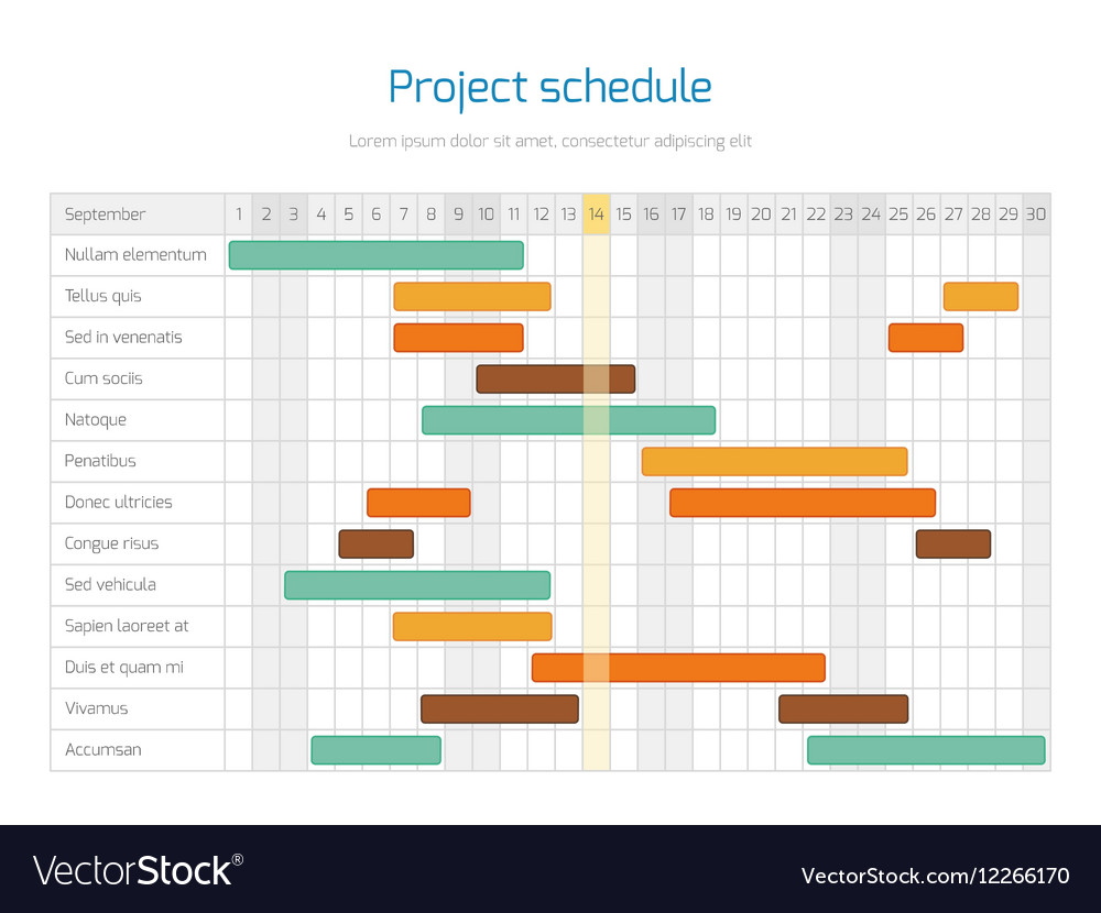 Project Schedule Chart Overview Planning Timeline Vector Image For Project Timeline Schedule