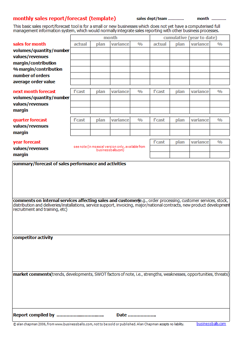 Quarterly Report Template Small Business Free Monthly Sales Forecast In Businessballs Project Management Templates