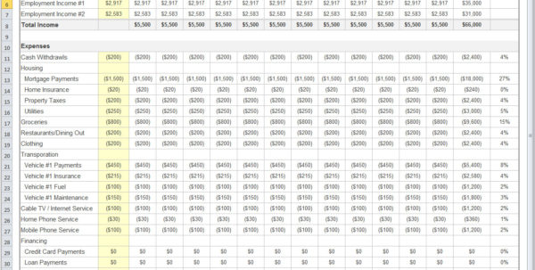 Quick Budget Excel Spreadsheet Template To Budgeting Tool Excel