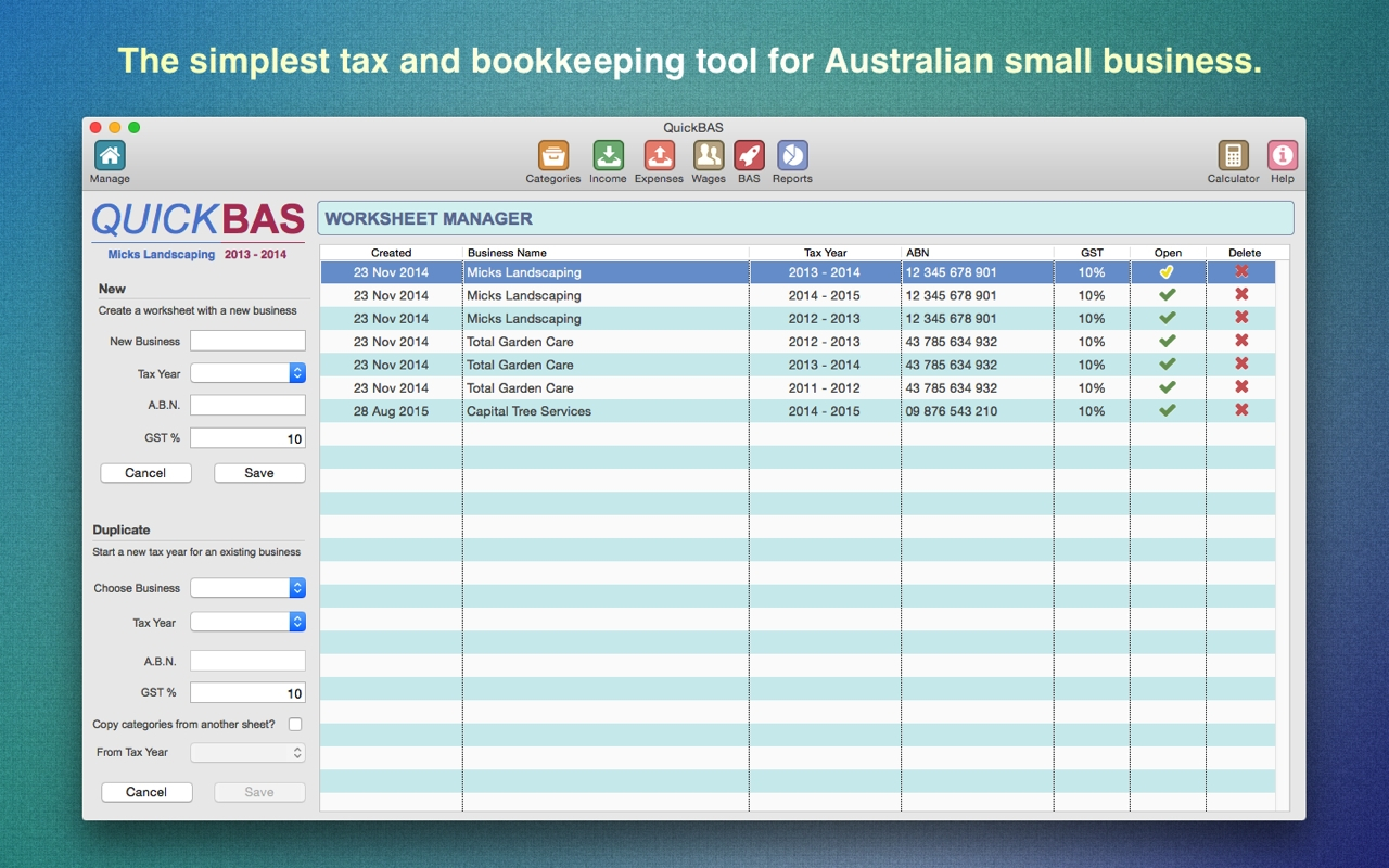 Quickbas Small Business Tax And Bas Accounting Software Throughout To Business Activity Statement Spreadsheet Template