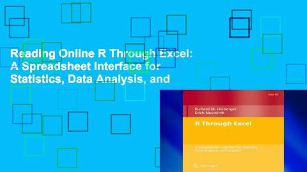 Reading Online R Through Excel: A Spreadsheet Interface For Within Data Analysis Spreadsheet