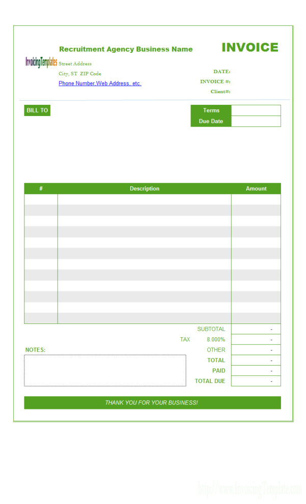 Recruitment Agency Invoice Template To Job Invoice Template