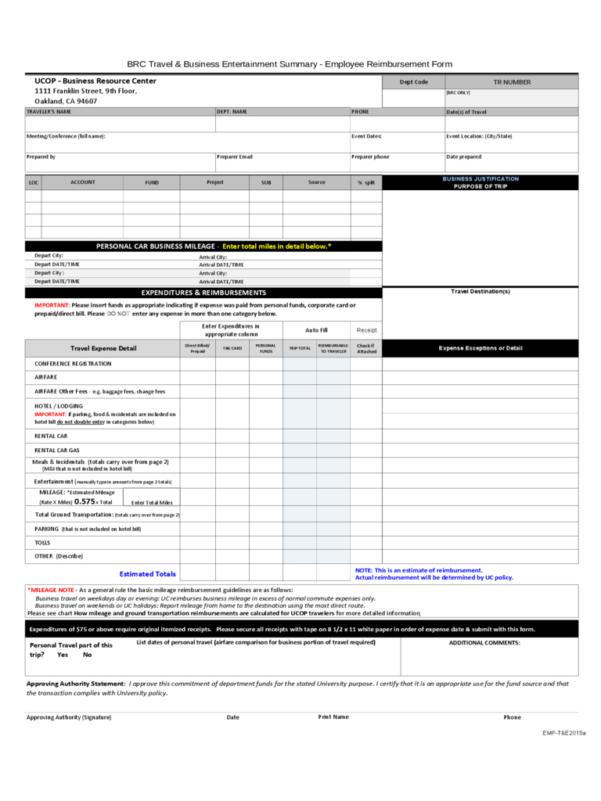 Reimbursement Form   12 Free Templates In Pdf, Word, Excel Download Within Reimbursement Sheet Template