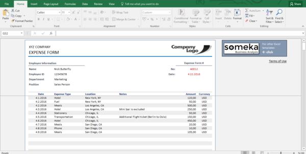 Reimbursement Form   Free Expense Template For Employees Intended For Reimbursement Sheet Template