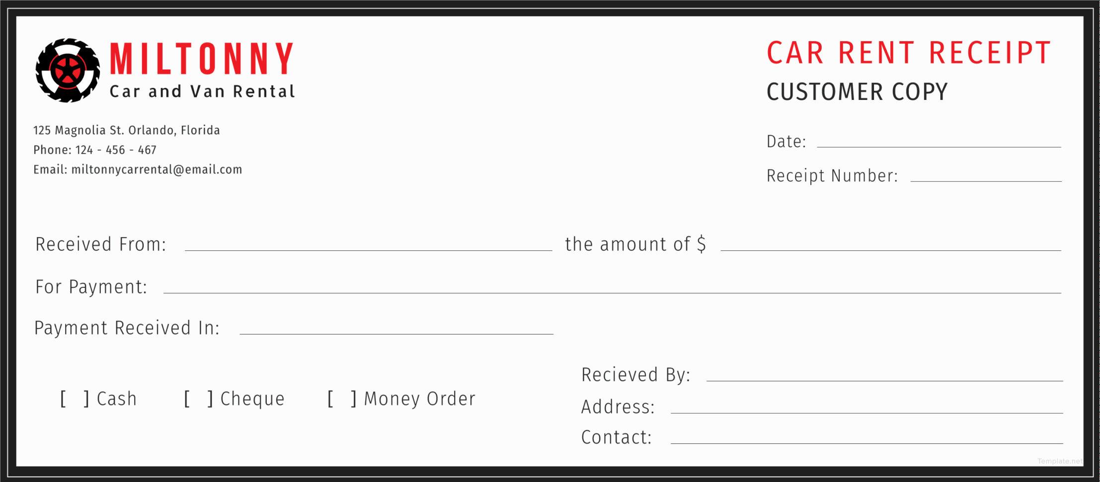 Rental Car Receipt Template   Bino.9Terrains.co In Rental Invoice Template