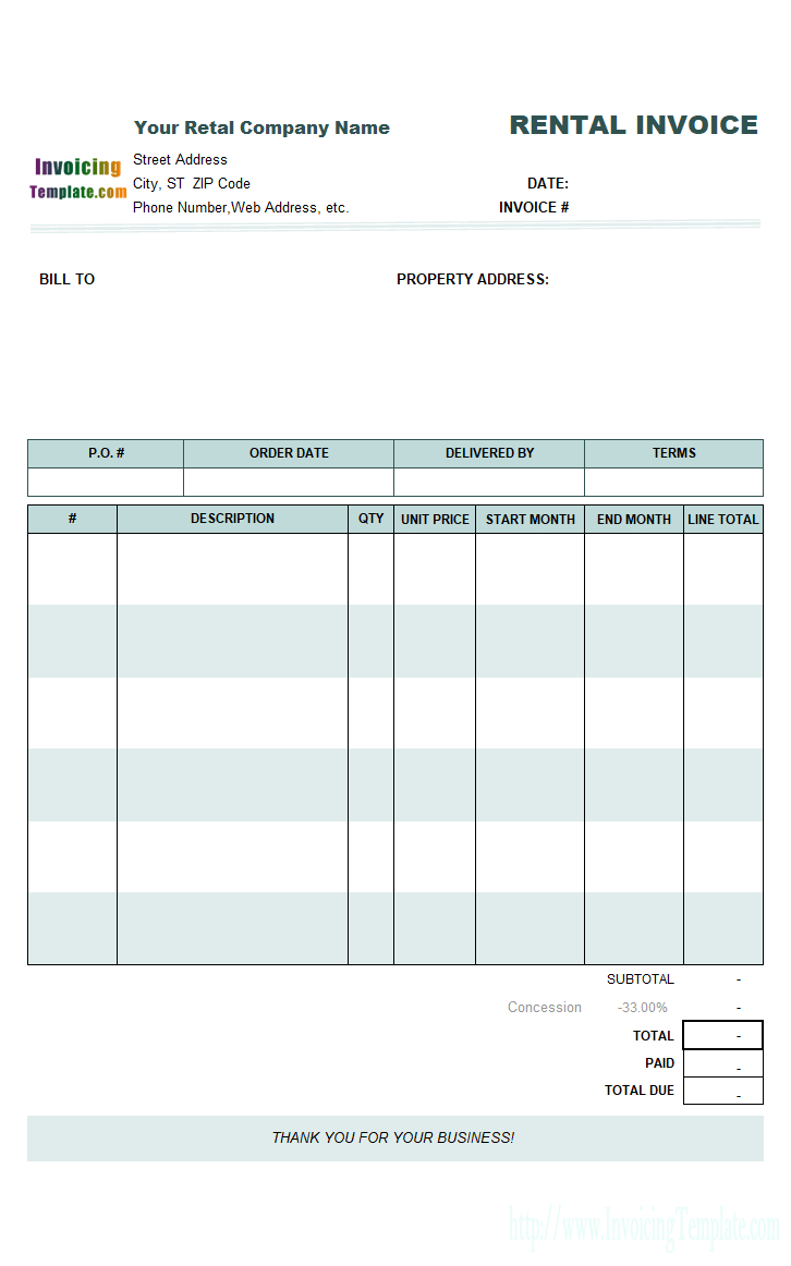 Rental Invoicing Template For Rental Invoice Template
