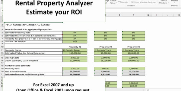 Rental Property Roi Spreadsheet Fresh Investment Property Analyzer Intended For Investment Property Calculator Excel Spreadsheet