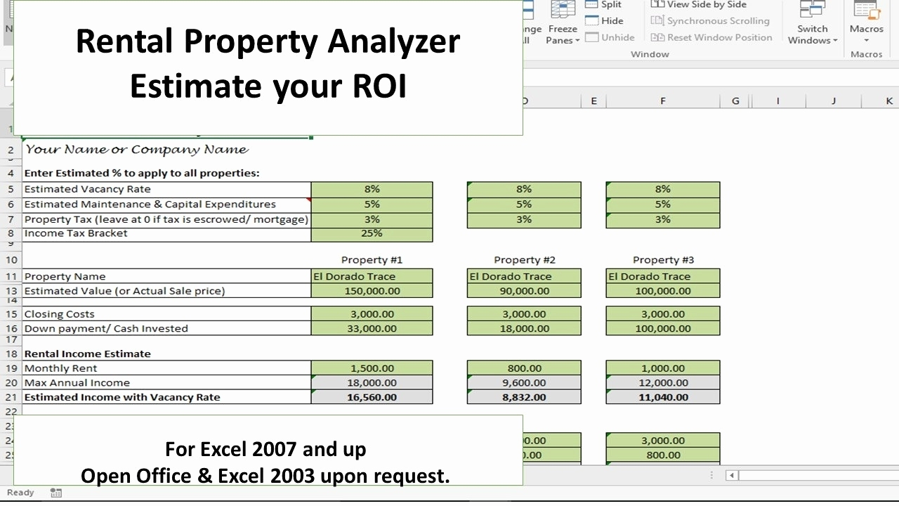 Rental Property Roi Spreadsheet Fresh Investment Property Analyzer With Rental Property Investment Spreadsheet