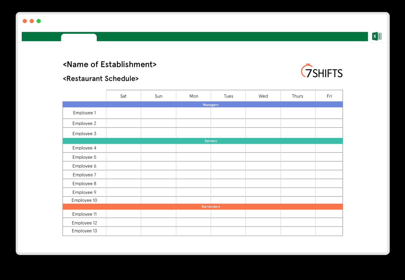 Restaurant Schedule Excel Template | 7Shifts To Employee Schedule Excel Spreadsheet