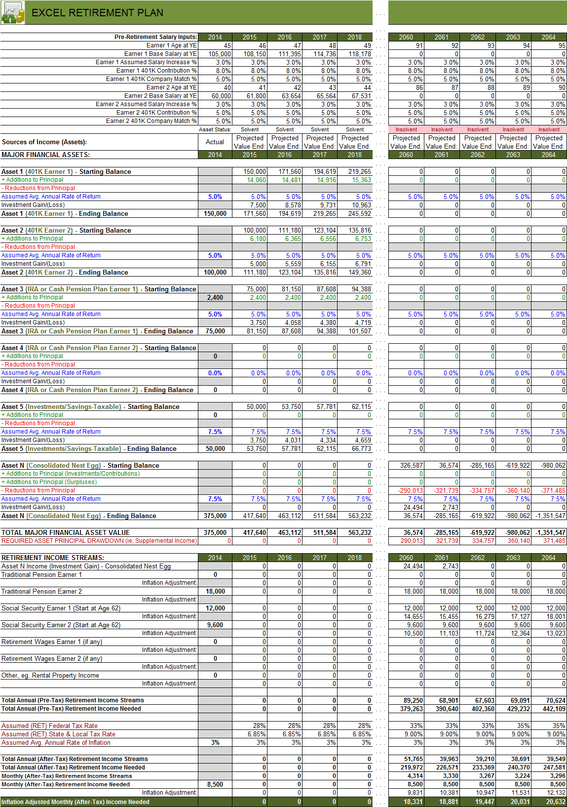 Retirement Calculator Spreadsheet On Free Spreadsheet Time Tracking Intended For Retirement Planner Spreadsheet