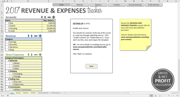 Revenue And Expenses Tracker   Savvy Spreadsheets And Excel Expense Tracker