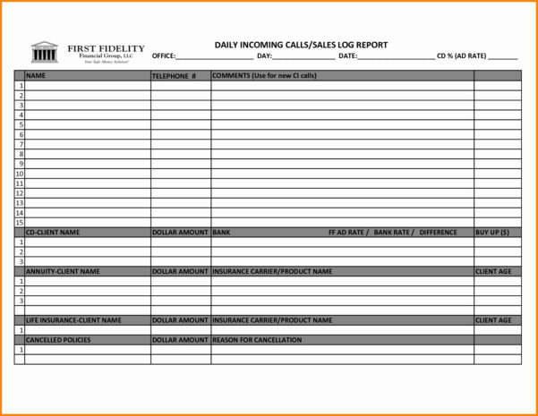 Sales Call Schedule Template With Sales Call Tracker Spreadsheet