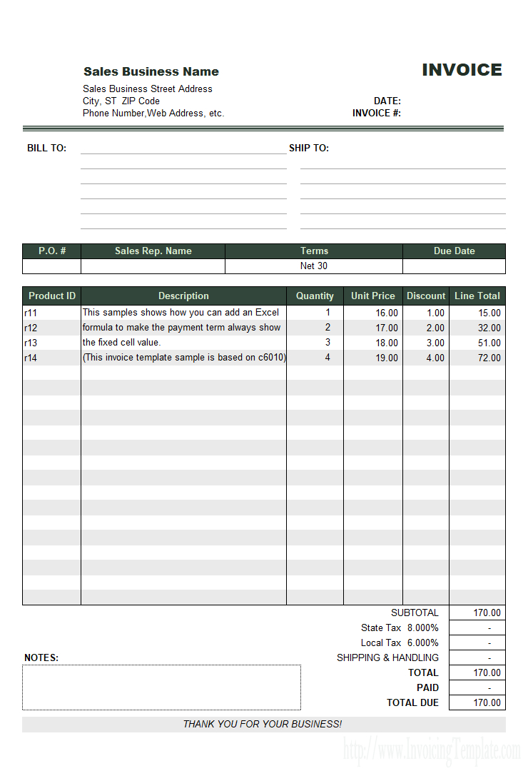Sales Invoice Template For United States With Invoice Excel Template