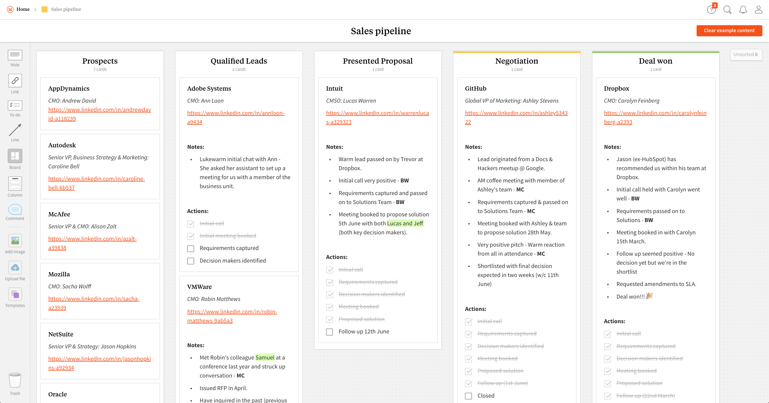 Sales Pipeline Template & Example   Milanote Inside Sales Pipeline Spreadsheet