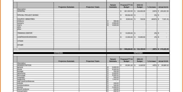 Sample Church Budget Spreadsheet Excel Spreadsheets Group Ministry For Budget Forms Sample