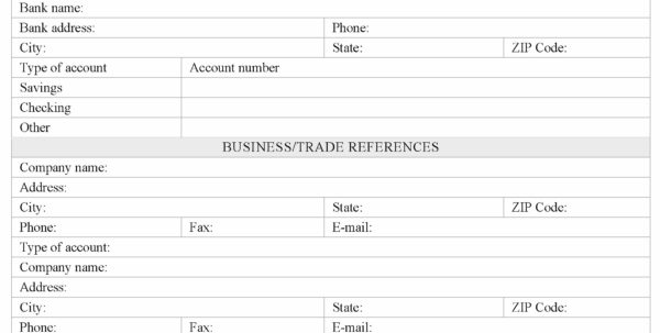 Sample Credit Application For A Business Account With Business Applications Template