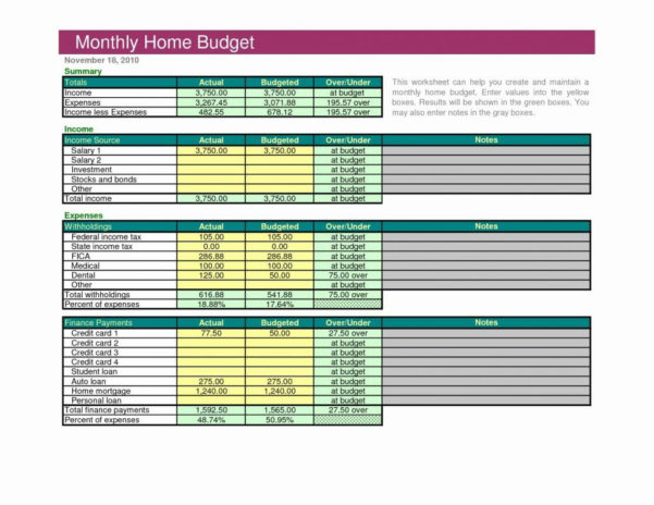 Sample Household Budget Sheet Or Best S Of Excel Home Bud Example Intended For Monthly Spreadsheets Household Budgets