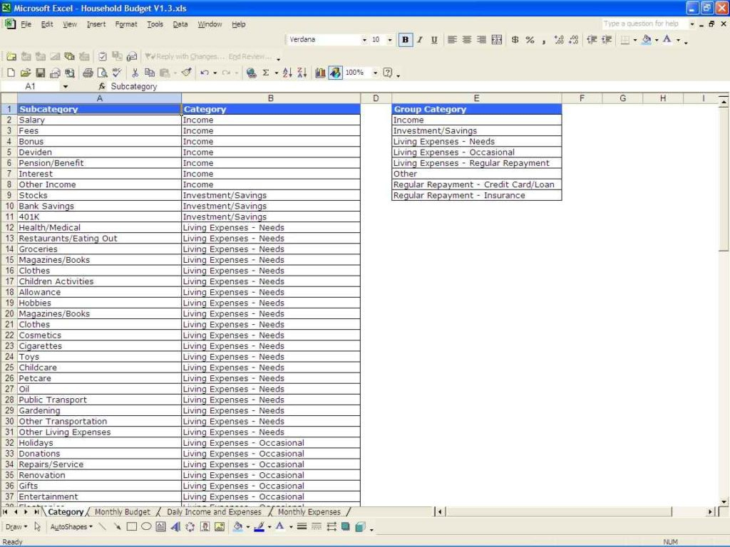 Sample Monthly Budget Spreadsheet Sample Household Budget In Monthly Spreadsheets Household Budgets